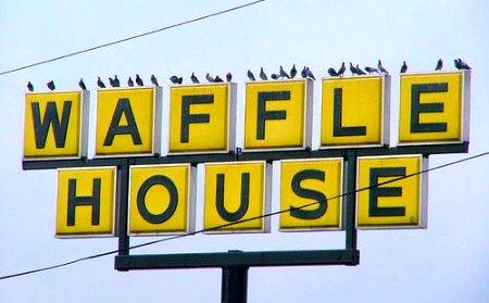 birds on a Waffle House sign