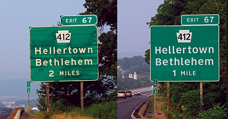 side-by-side comparison of signs using Highway Gothic and Clearview