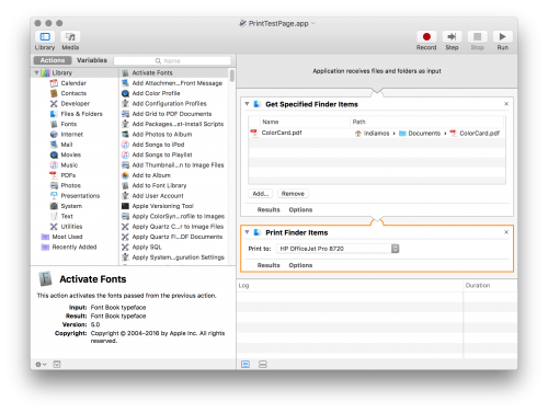 Screenshot of the OS X Automator
